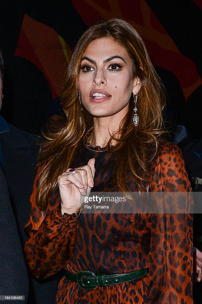 Actress Eva Mendes leaves the 'Late Show With David Letterman' taping at the Ed Sullivan Theater on March 19, 2013 in New York City.