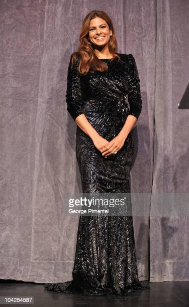 Actress Eva Mendes onstage at 'Last Night' Premiere introduction during the 35th Toronto International Film Festival at Roy Thomson Hall on September...
