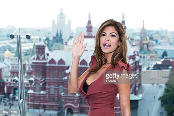 Actress Eva Mendes poses for a photocall before Russian premiere of The Other Guys film on the roof of the Ritz hotel on September 13 2010 in Moscow...