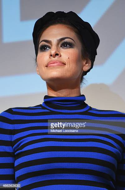 Actress Eva Mendes takes part in a QA following the 'Lost River' premiere during the 2015 SXSW Music Film Interactive Festival at Topfer Theatre at...