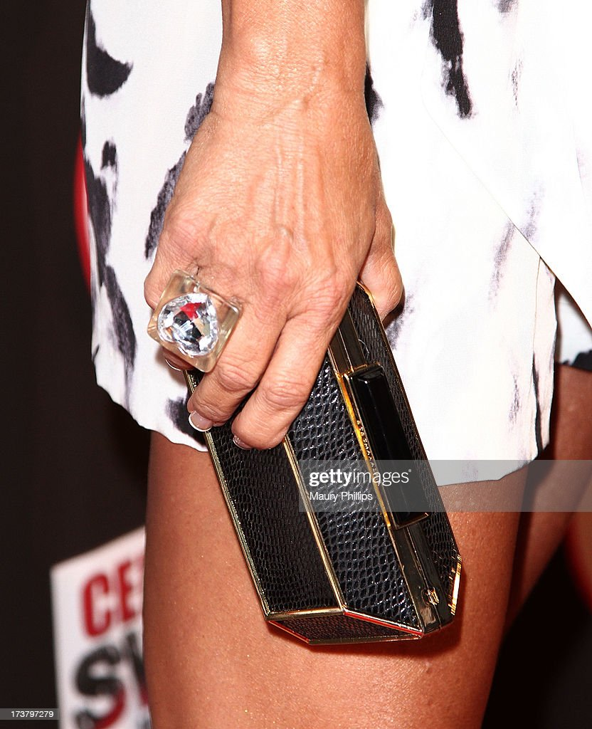 Actress Eva Tamargo (fashion detail) arrives at the 2013 ESPY Awards - After Party at The Palm on July 17, 2013 in Los Angeles, California.