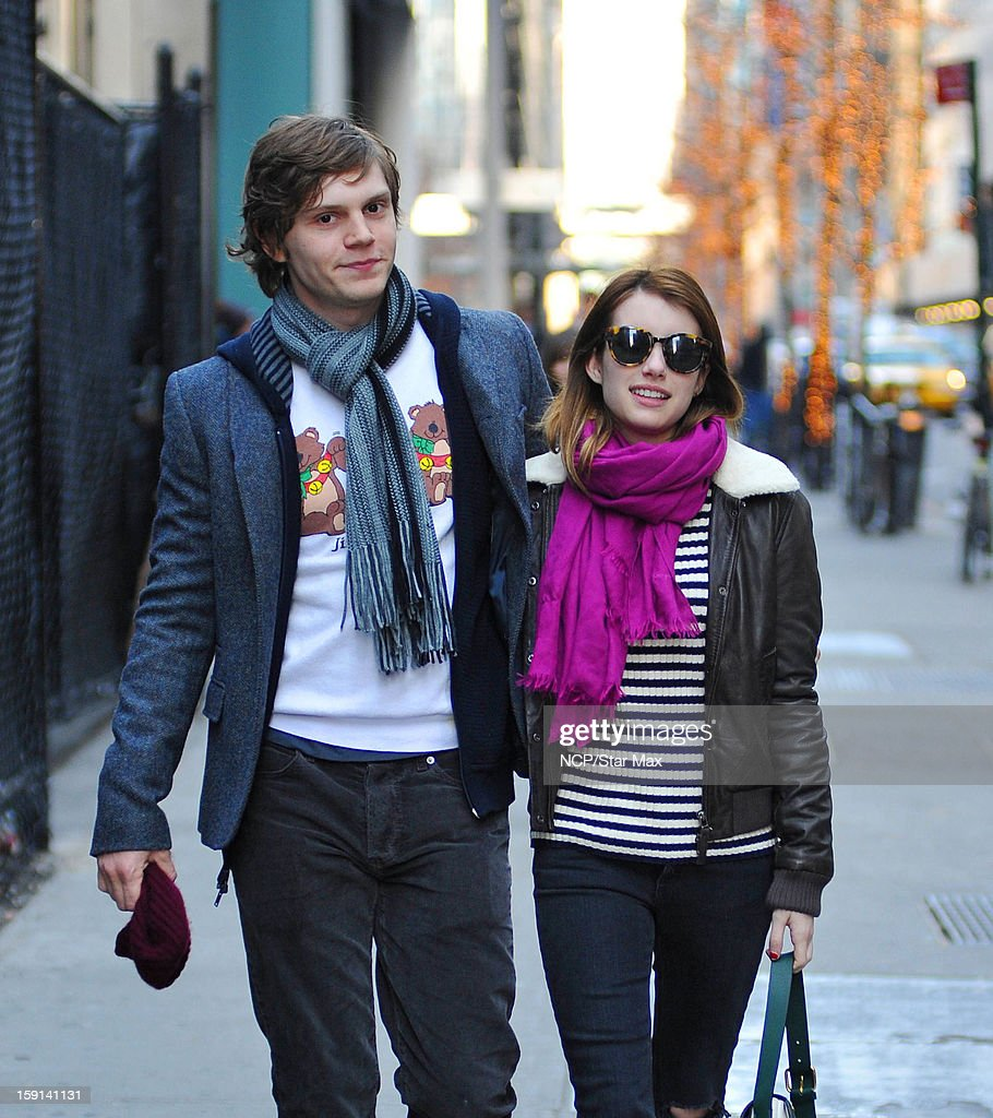 Actress Evan Peters and Emma Roberts as seen on January 8, 2013 in New York City.