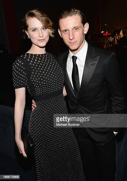 Actress Evan Rachel Wood and actor Jamie Bell wearing Gucci attend the LACMA 2013 Art Film Gala honoring Martin Scorsese and David Hockney presented...