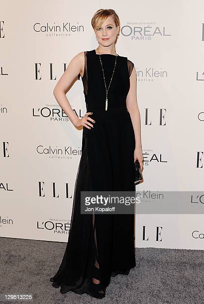 Actress Evan Rachel Wood arrives at the 18th Annual ELLE Women In Hollywood Tribute at The Four Seasons Hotel on October 17 2011 in Beverly Hills...