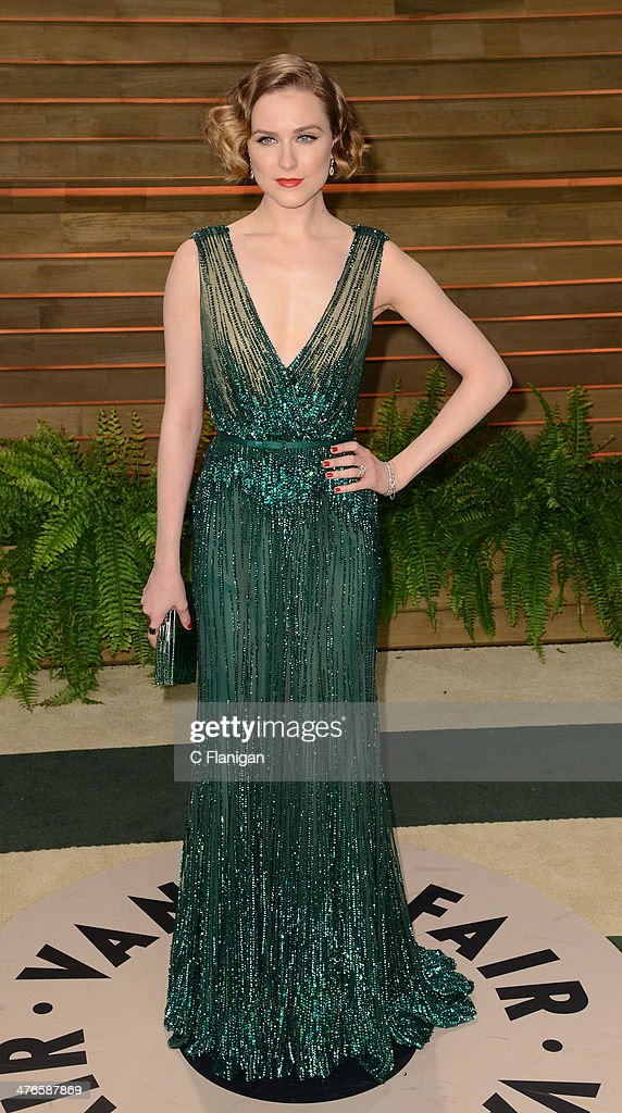 Actress Evan Rachel Wood arrives at the 2014 Vanity Fair Oscar Party Hosted By Graydon Carter on March 2, 2014 in West Hollywood, California.
