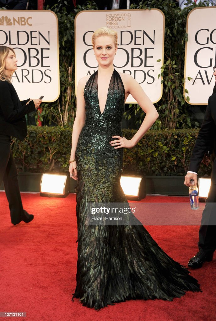 Actress Evan Rachel Wood arrives at the 69th Annual Golden Globe Awards held at the Beverly Hilton Hotel on January 15 2012 in Beverly Hills...