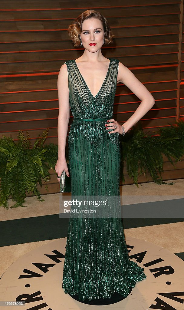 Actress Evan Rachel Wood attends the 2014 Vanity Fair Oscar Party hosted by Graydon Carter on March 2, 2014 in West Hollywood, California.