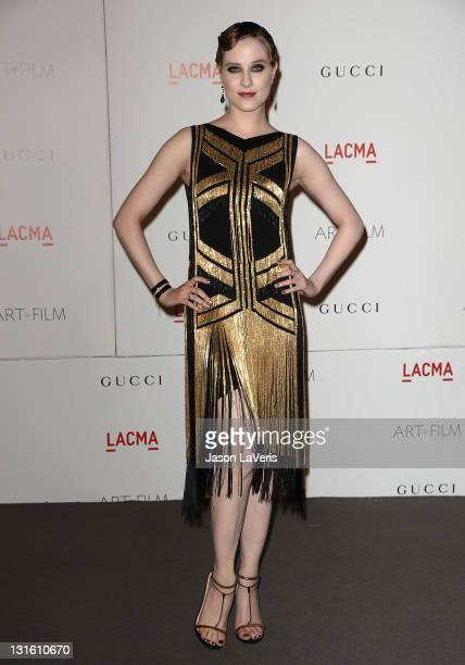 Actress Evan Rachel Wood attends the LACMA inaugural Art Film Gala at LACMA on November 5 2011 in Los Angeles California
