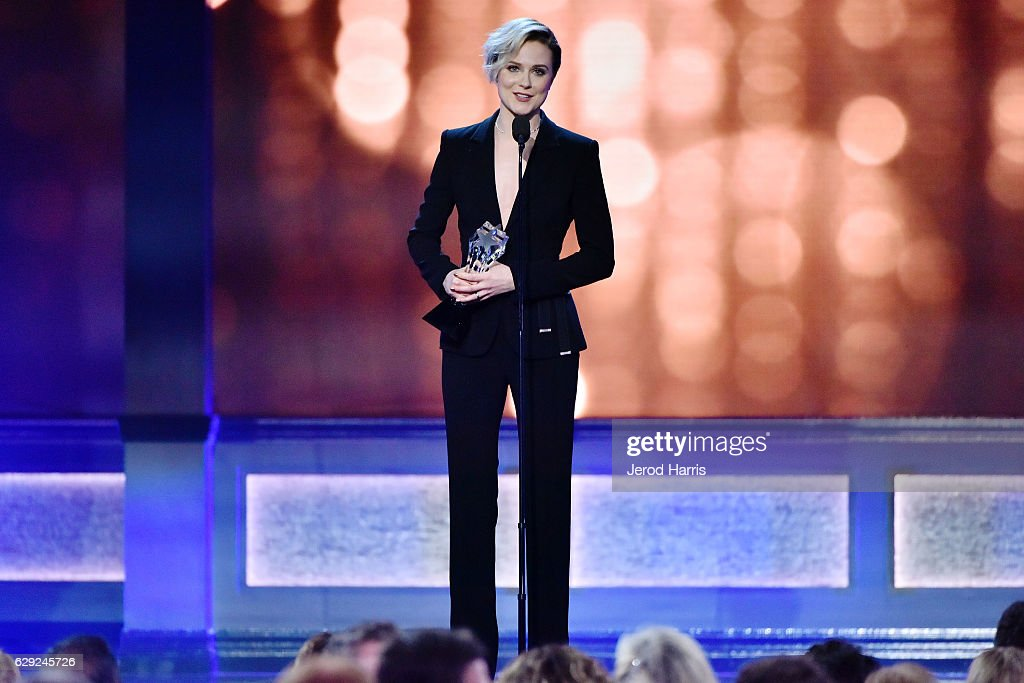 Actress Evan Rachel Wood speaks onstage during the 22nd Annual Critics' Choice Awards at Barker Hangar on December 11, 2016 in Santa Monica, California.