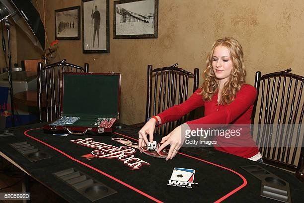 Actress Evan Rachel Wood visits the Michelob Amber Bock World Poker Tour display at the Gibson Gift Lounge during the 2005 Sundance Film Festival on...