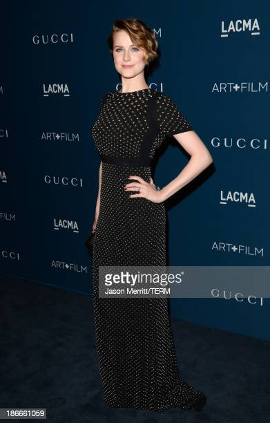 Actress Evan Rachel Wood wearing Gucci attends the LACMA 2013 Art Film Gala honoring Martin Scorsese and David Hockney presented by Gucci at LACMA on...