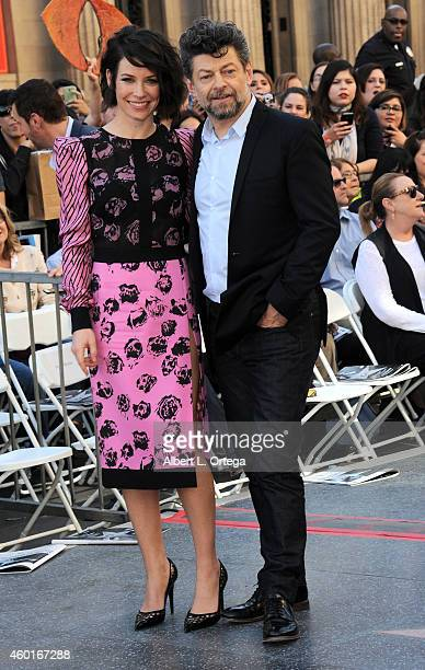 Actress Evangeline Lilly and actor Andy Serkis at The Hollywood Walk Of Fame Ceremony for Sir Peter Jackson held on December 8 2014 in Hollywood...