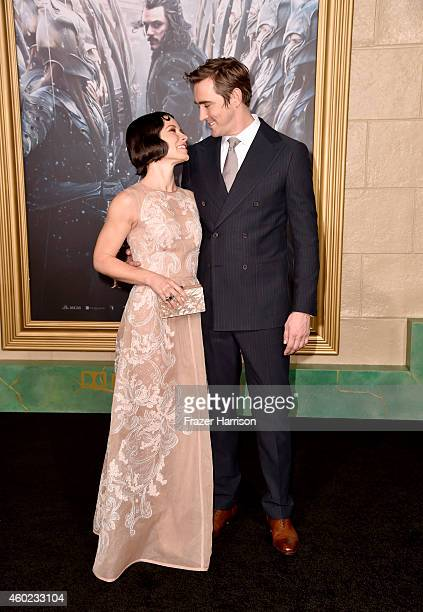 Actress Evangeline Lilly and actor Lee Pace attend the premiere of New Line Cinema MGM Pictures And Warner Bros Pictures' 'The Hobbit The Battle Of...