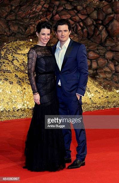 Actress Evangeline Lilly and actor Orlando Bloom attend the 'The Hobbit The Desolation of Smaug' European Premiere at Cinestar on December 9 2013 in...