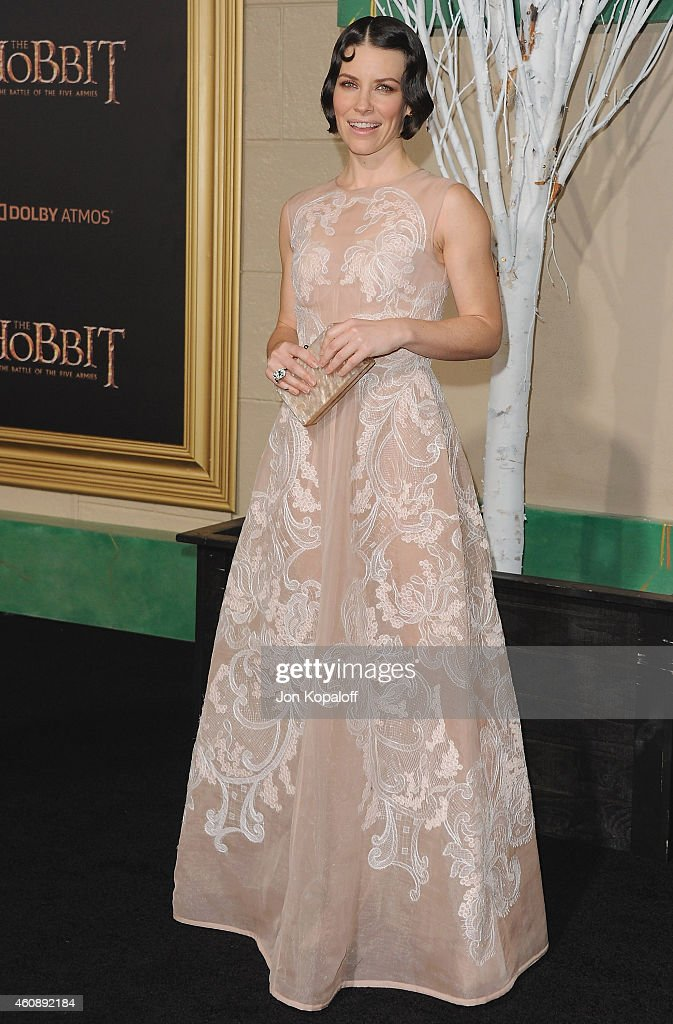 Actress Evangeline Lilly arrives at the Los Angeles Premiere 'The Hobbit The Battle Of The Five Armies' at Dolby Theatre on December 9 2014 in...