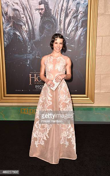 Actress Evangeline Lilly arrives at the Premiere Of New Line Cinema MGM Pictures and Warner Bros Pictures' 'The Hobbit The Battle Of The Five Armies'...