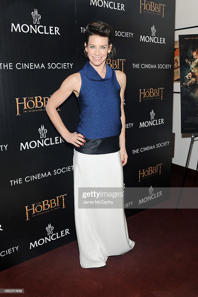Actress <a gi-track='captionPersonalityLinkClicked' href=/galleries/search?phrase=Evangeline+Lilly&family=editorial&specificpeople=228168 ng-click='$event.stopPropagation()'>Evangeline Lilly</a> attends New Line Cinema and MGM Pictures' screening of 'The Hobbit: The Desolation of Smaug' hosted by the Cinema Society and Moncler on December 11, 2013 in New York City.