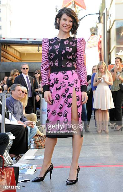 Actress Evangeline Lilly attends the ceremony honoring Sir Peter Jackson with a Star on The Hollywood Walk of Fame on December 8 2014 in Hollywood...