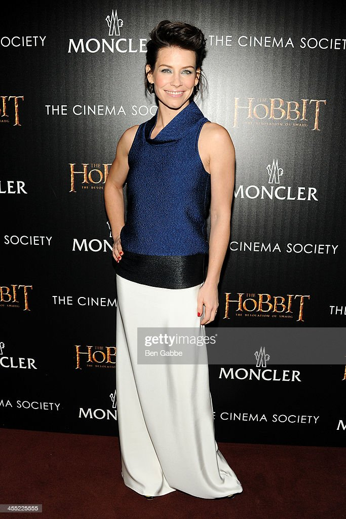 Actress <a gi-track='captionPersonalityLinkClicked' href=/galleries/search?phrase=Evangeline+Lilly&family=editorial&specificpeople=228168 ng-click='$event.stopPropagation()'>Evangeline Lilly</a> attends The Cinema Society & Moncler host a screening of New Line Cinema & MGM Pictures' 'The Hobbit: The Desolation of Smaug' at Time Warner Screening Room on December 11, 2013 in New York City.