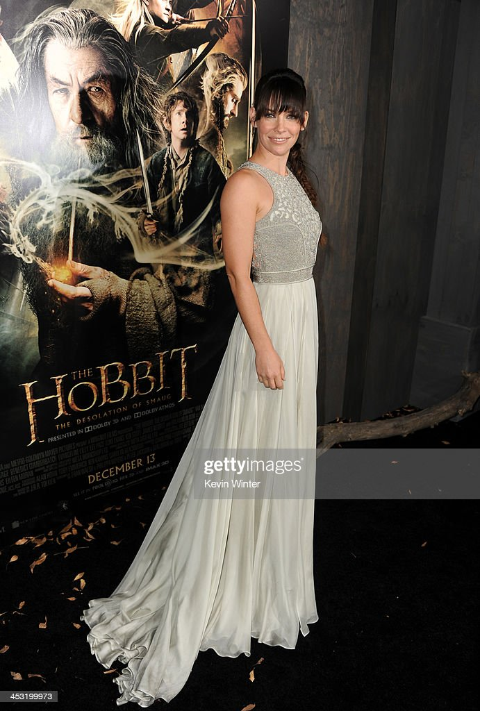 Actress <a gi-track='captionPersonalityLinkClicked' href=/galleries/search?phrase=Evangeline+Lilly&family=editorial&specificpeople=228168 ng-click='$event.stopPropagation()'>Evangeline Lilly</a> attends the premiere of Warner Bros' 'The Hobbit: The Desolation of Smaug' at TCL Chinese Theatre on December 2, 2013 in Hollywood, California.