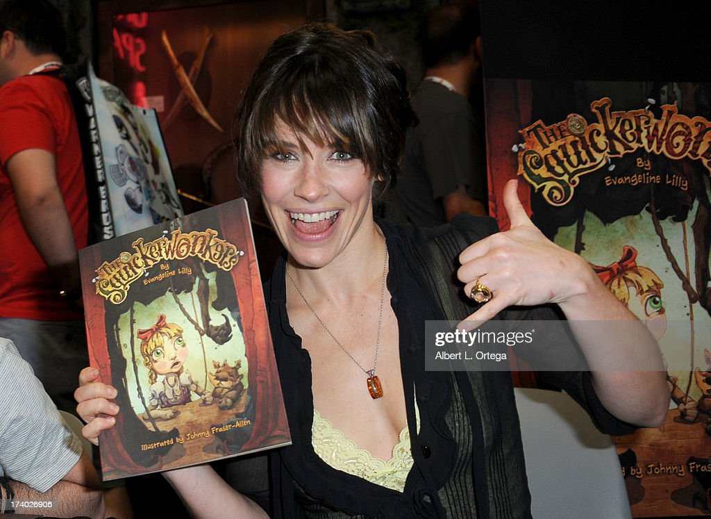 Actress <a gi-track='captionPersonalityLinkClicked' href=/galleries/search?phrase=Evangeline+Lilly&family=editorial&specificpeople=228168 ng-click='$event.stopPropagation()'>Evangeline Lilly</a> during Comic-Con International at San Diego Convention Center on July 19, 2013 in San Diego, California.