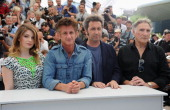 Actress Eve Hewson actor Sean Penn director Paolo Sorrentino and actor Judd Hirsch attend the 'This Must Be The Place' photocall during the 64th...