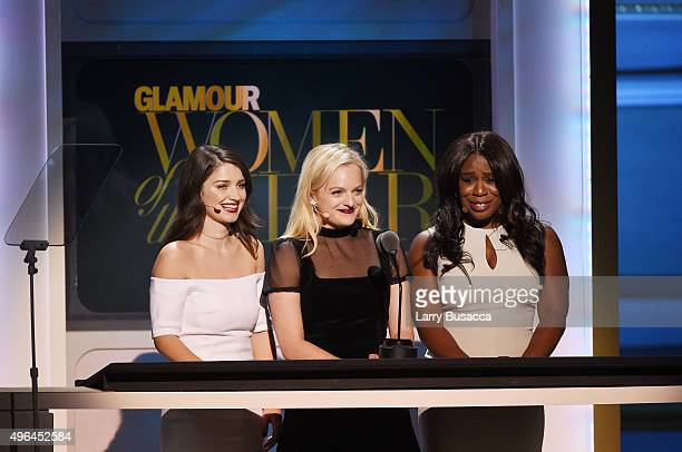 Actress Eve Hewson Actress Elisabeth Moss and Actress Uzo Aduba speak onstage at the 2015 Glamour Women of the Year Awards on November 9 2015 in New...