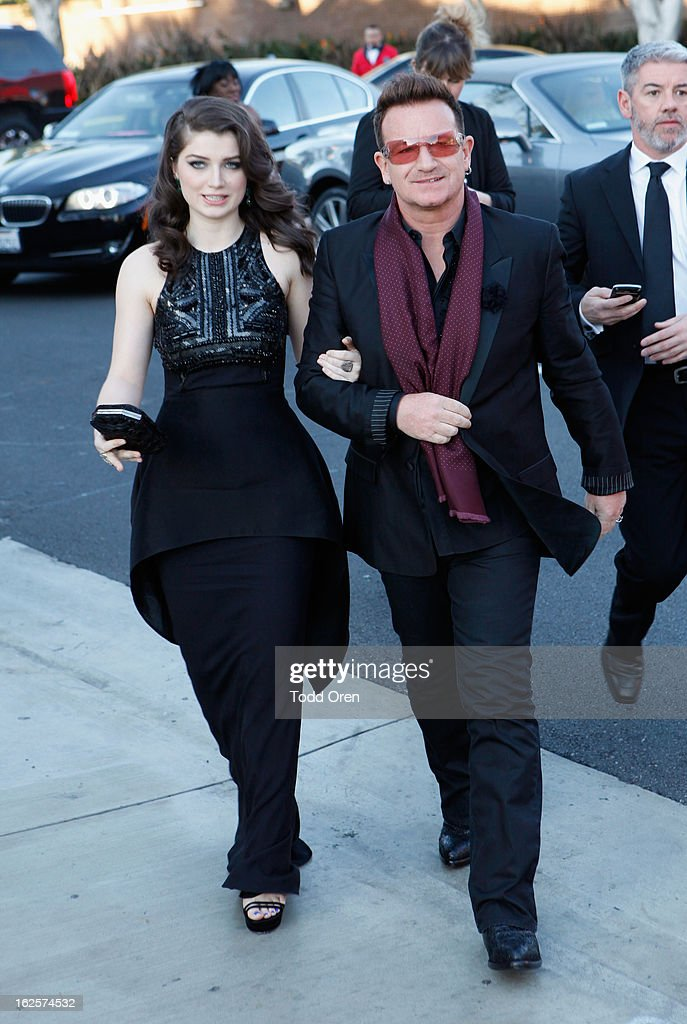 Actress Eve Hewson and musician Bono attend Audi at 21st Annual Elton John AIDS Foundation Academy Awards Viewing Party at West Hollywood Park on February 24, 2013 in West Hollywood, California.