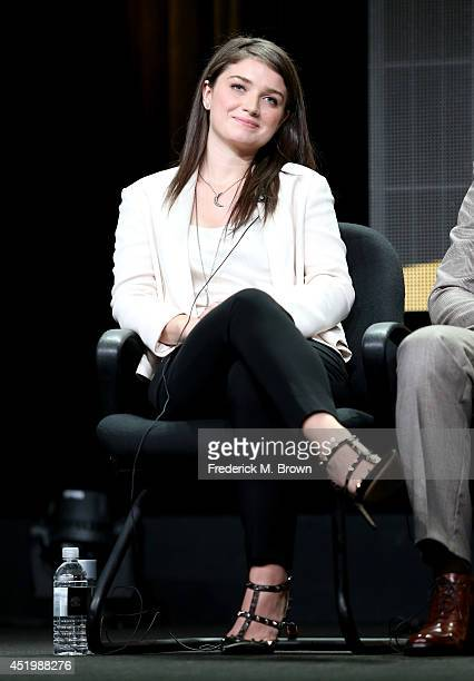 Actress Eve Hewson speaks onstage at the 'The Knick' panel during the HBO portion of the 2014 Summer Television Critics Association at The Beverly...