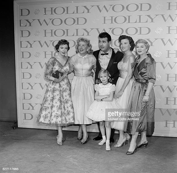 Actress Evelyn Rudie poses with Vivian Vance and Ernie Ford during the Emmy Nominations in Los AngelesCA