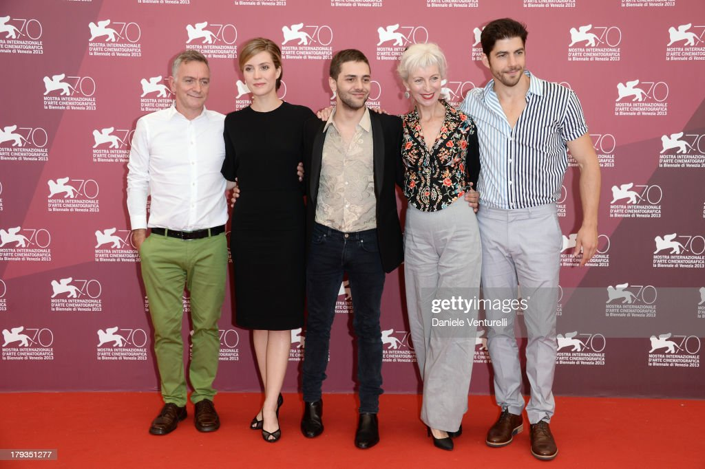 Actress Evelyne Brochu Author Michel Marc Bouchard director Xavier Dolan actors Lise Roy and Pierre Yves Cardinal attend 'Tom A La Ferme' Photocall...