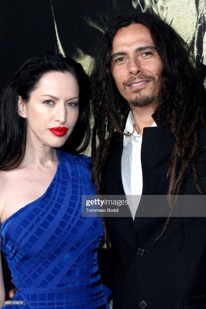 Actress Evis Xheneti (R) and musician <a gi-track='captionPersonalityLinkClicked' href=/galleries/search?phrase=James+Shaffer&family=editorial&specificpeople=573015 ng-click='$event.stopPropagation()'>James Shaffer</a> attend the 'The Quiet Ones' Los Angeles premiere held at The Theatre At Ace Hotel on April 22, 2014 in Los Angeles, California.