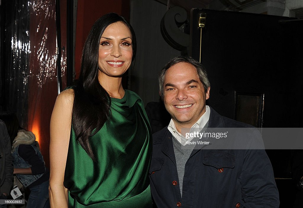 Actress Famke Janssen and President, Paramount Film Group Adam Goodman arrive for the Los Angeles premiere of Paramount Pictures' 'Hansel And Gretel Witch Hunters' at TCL Chinese Theatre on January 24, 2013 in Hollywood, California.