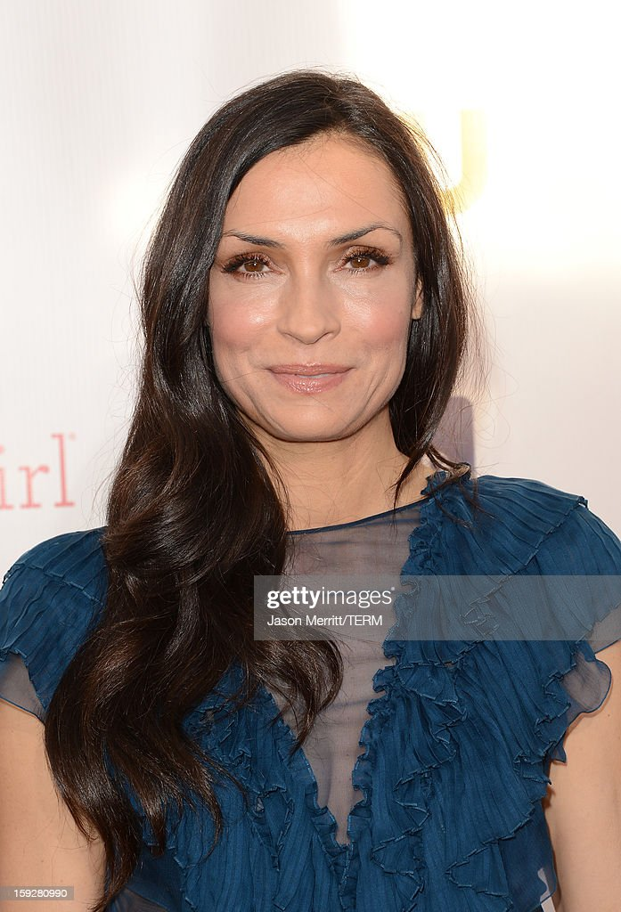 Actress Famke Janssen arrives at the 18th Annual Critics' Choice Movie Awards at Barker Hangar on January 10, 2013 in Santa Monica, California.