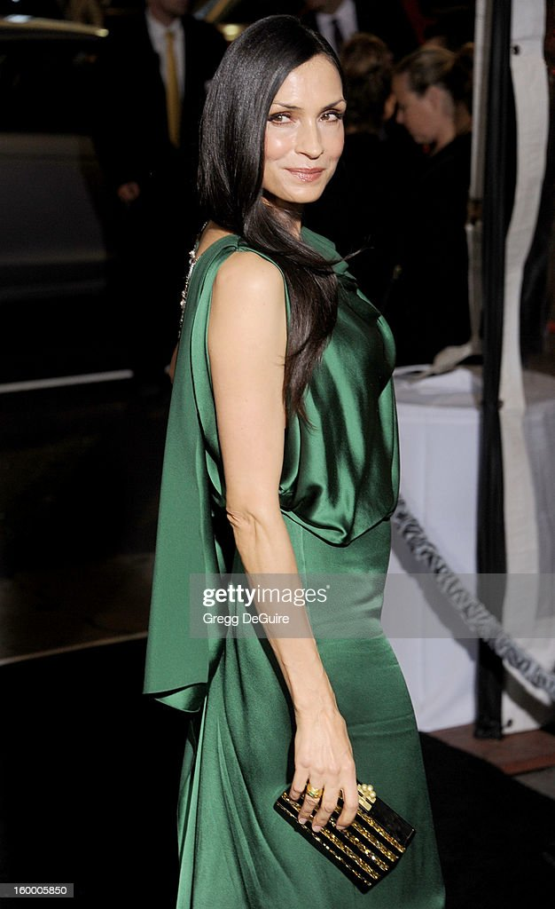 Actress Famke Janssen arrives at the 'Hansel & Gretel: Witch Hunters' Los Angeles premiere at TCL Chinese Theatre on January 24, 2013 in Hollywood, California.