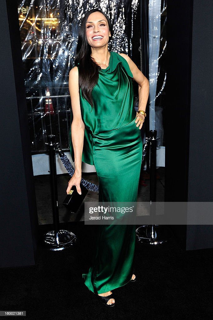 Actress Famke Janssen arrives at the Los Angeles Premiere of 'Hansel & Gretel: Witch Hunters' at TCL Chinese Theatre on January 24, 2013 in Hollywood, California.