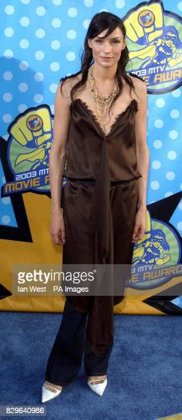 Actress Famke Janssen arriving at The Shrine Auditorium for the MTV Movie Awards