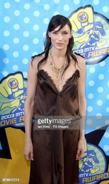 Actress Famke Janssen arriving at The Shrine Auditorium Los Angeles for the MTV Movie Awards