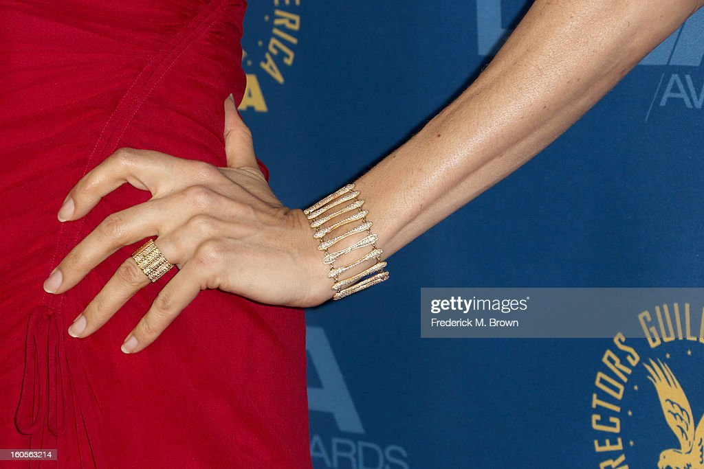 Actress Famke Janssen (fashion detail) attends the 65th Annual Directors Guild Of America Awards at Ray Dolby Ballroom at Hollywood & Highland on February 2, 2013 in Los Angeles, California.