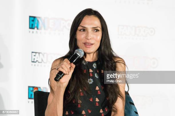 Actress Famke Janssen attends 'The XMen' QA for Fan Expo Vancouver in the Vancouver Convention Centre on November 11 2017 in Vancouver Canada