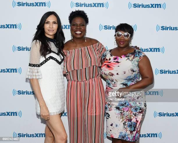 Actress Famke Janssen comedian Leslie Jones and TV personality/SiriusXM host Bevy Smith visit at SiriusXM Studios on June 12 2017 in New York City