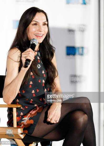 Actress Famke Janssen speaks on stage during day 2 of Fan Expo Vancouver at Vancouver Convention Centre on November 11 2017 in Vancouver Canada