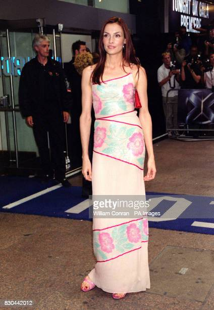 Actress Famke Janssen who plays Dr Jean Grey in the film arrives for the premiere of XMen at The Odeon cinema in Leicester Square London