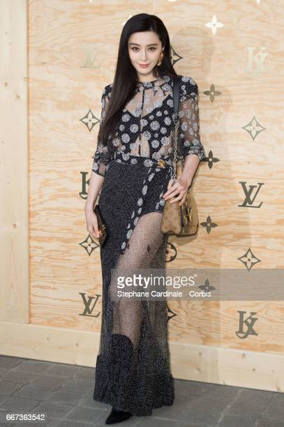 Actress Fan Bing Bing attends the Louis Vuitton's Dinner for the Launch of Bags by Artist Jeff Koons at Musee du Louvre on April 11 2017 in Paris...