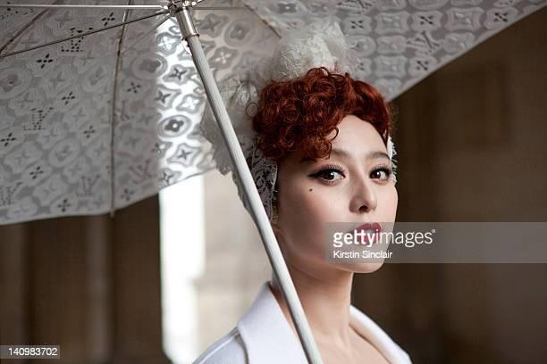 Actress Fan Bing Bing wearing Louis Vuitton at Paris Fashion Week Autumn/Winter 2012 womenswear shows on March 7 2012 in Paris France