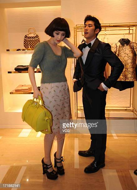 Actress Fan Bingbing and actor Aarif Lee attend Louis Vuitton store opening ceremony on June 25 2013 in Shenyang China