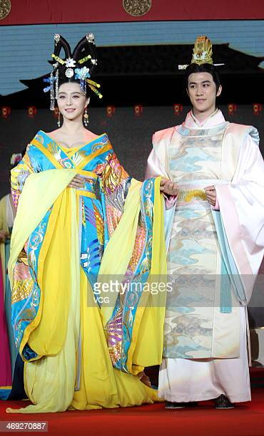 Actress Fan Bingbing and actor Aarif Lee attend television drama series 'Empress Wu Zetian' press conference at Juna Hotel on February 13 2014 in...