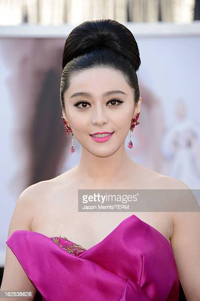 Actress Fan Bingbing arrives at the Oscars at Hollywood Highland Center on February 24 2013 in Hollywood California