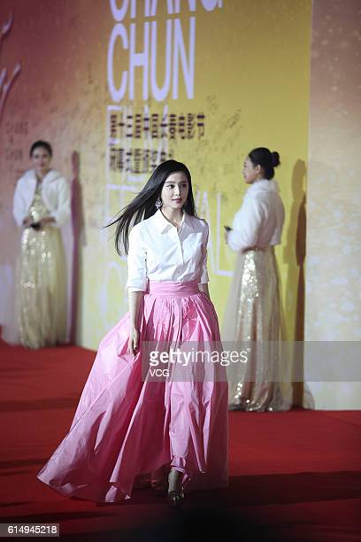 Actress Fan Bingbing arrives at the red carpet during the closing ceremony of the 13th Changchun Film Festival on October 15 2016 in Changchun Jilin...
