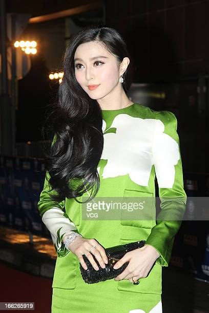 Actress Fan Bingbing arrives at the red carpet of 2013 Huading Awards Ceremony at Kowloonbay International Trade and Exhibition Centre on April 10...